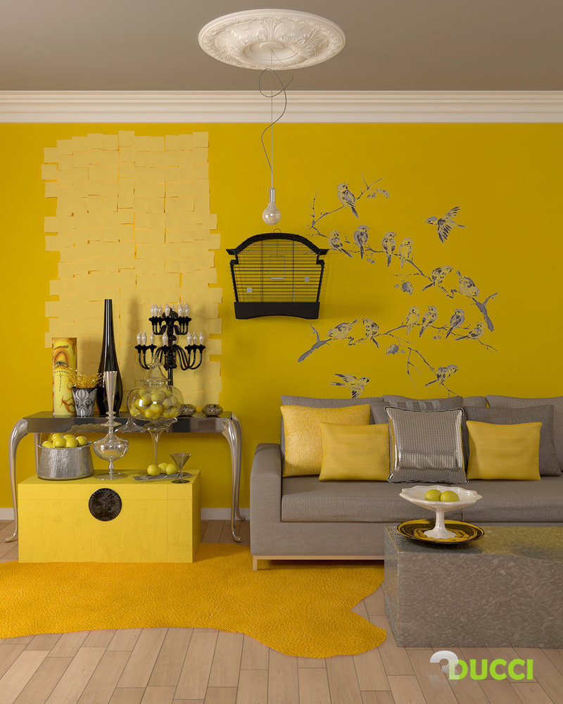 Elegant Deep Blue Living Rooms; Modern Yellow And Gray Living Room Part 17