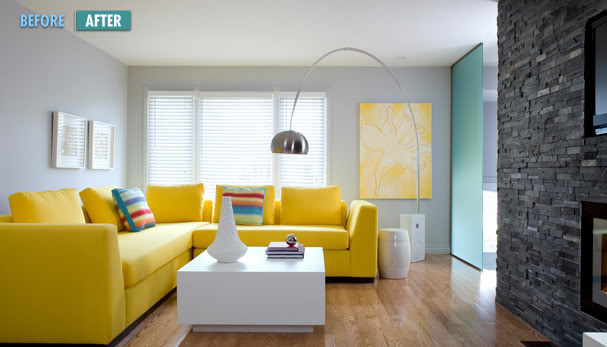 small fresh yellow living room