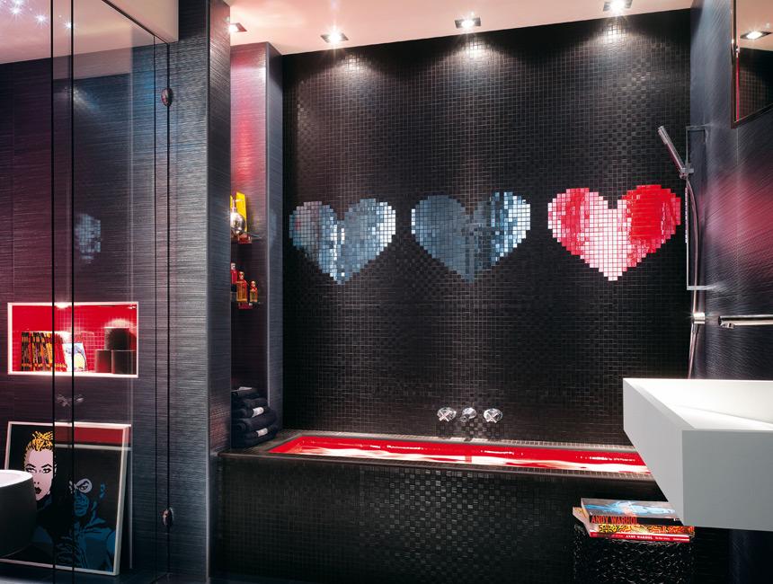Black And Red Modern Mosaic Bathroom Design