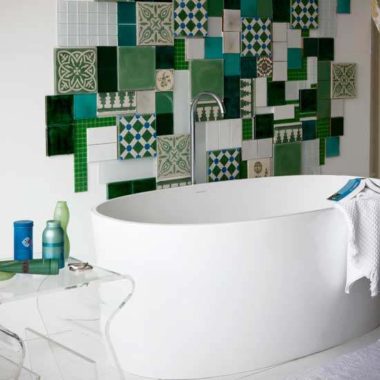 green and white mosaic bathroom