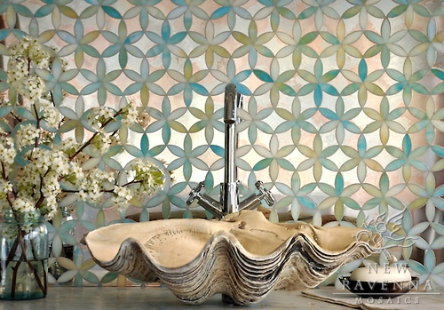 glass waterjet mosaic bathroom