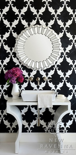 black and white mosaic bathroom