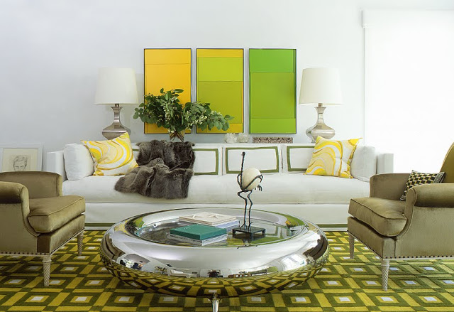 yellow green and white living room with silver coffee table