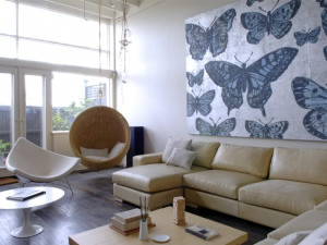 butterfly art in living room