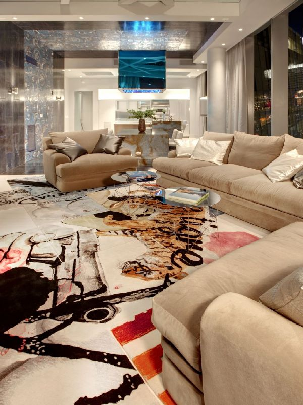 living room furniture in amazing penthouse interior by Mark Tracy