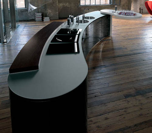 Modern Curved Kitchen Island contemporary kitchens with island - decoholic
