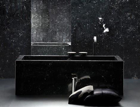 black marble bathroom and bathtub