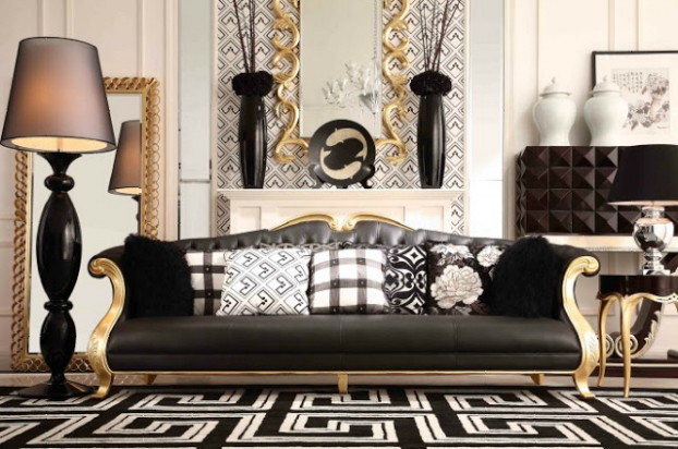 Best gold living rooms for Gold and black living room ideas