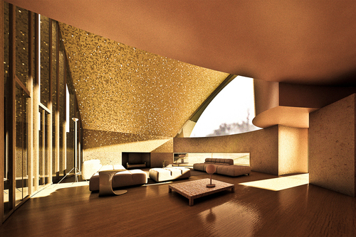modern golden Living Room 3