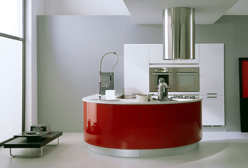 modern red and white kitchen with island