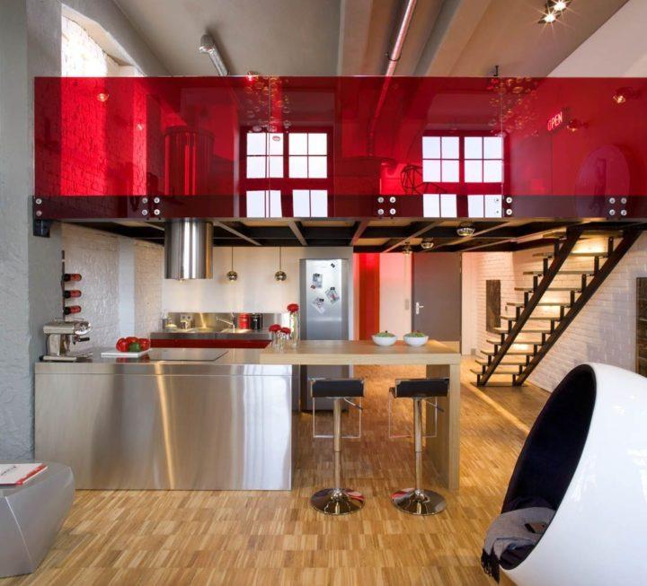 inox island and red plexiglass