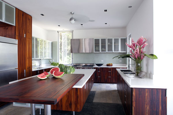 modern kitchen with island wood and white
