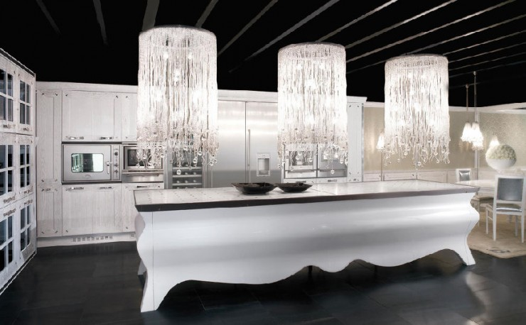 modern luxury kitchen with island and big crystal chandeliers