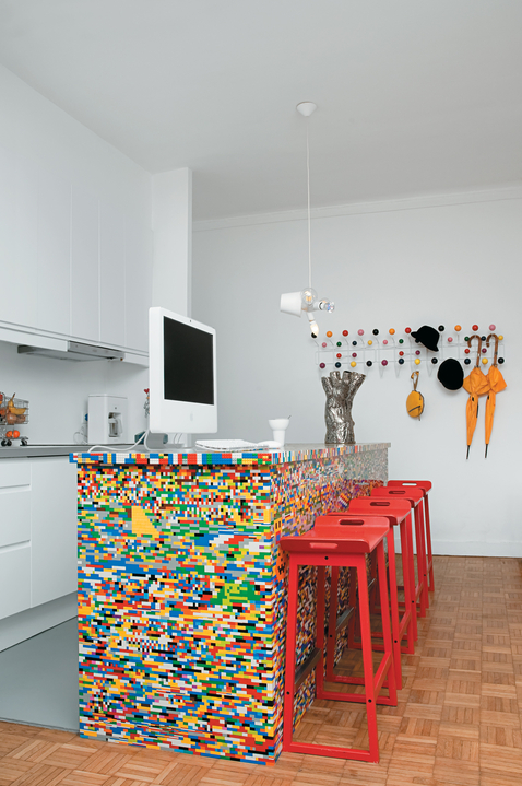 leggo in kitchen with red stools