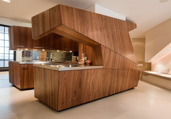 modern wooden kitchen with island