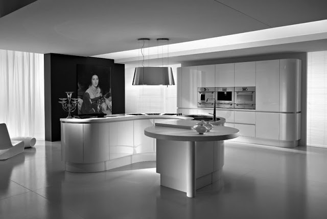 grey and white kitchen with island