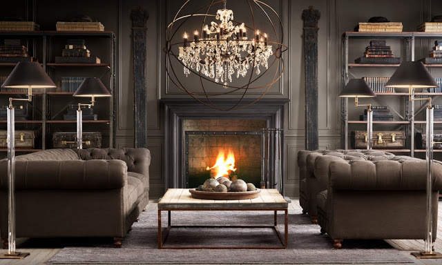 amazing brown living rooms by Restoration Hardware 6