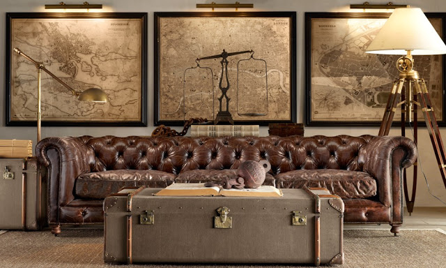 amazing brown living rooms by Restoration Hardware