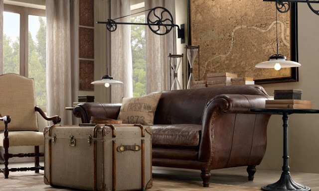 amazing brown living rooms by Restoration Hardware 9