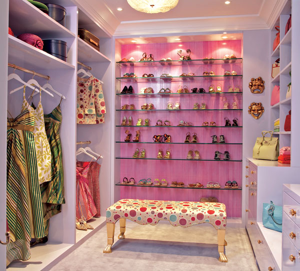 It doesn't take a lot to make a walk in closet look extra fabulous.