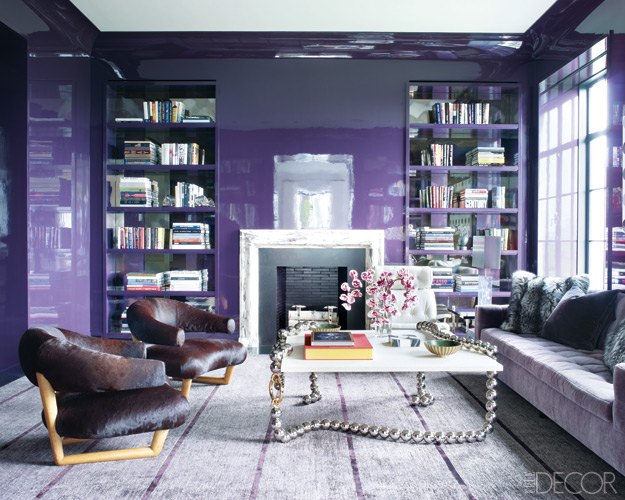 purple contemporary living room with silver coffee table