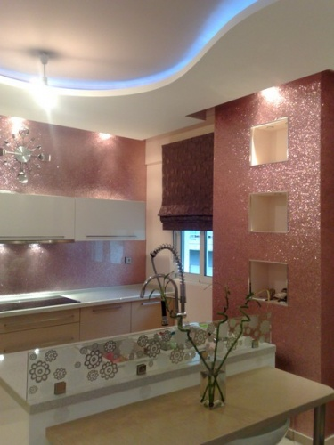 modern light pink kitchen