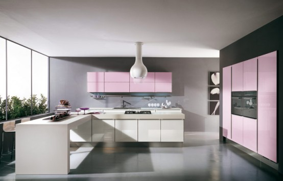 pink and creme kitchen