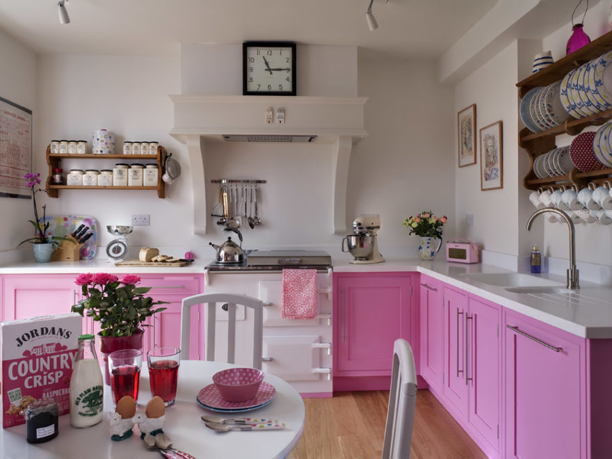 awesome traditional pink kitchen design