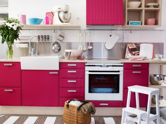 bold pink kitchen design