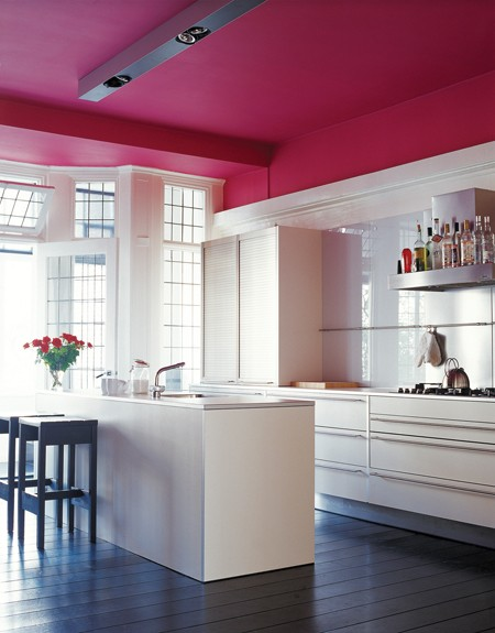 white kitchen with pink roof