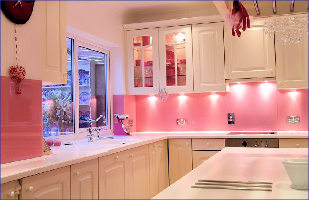 white and pink kitchen