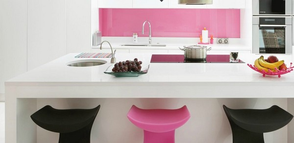 amazing white and pink modern kitchen