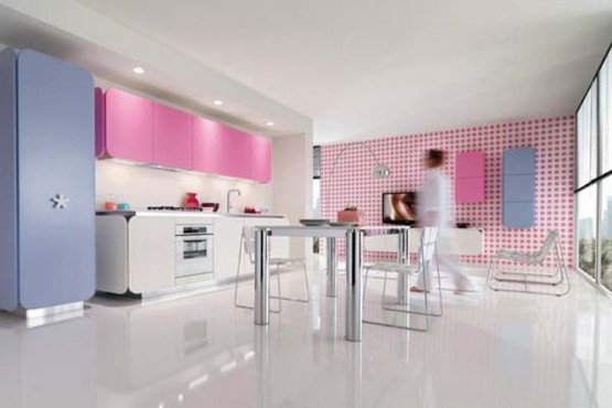 ultra modern pink and white kitchen cabinets