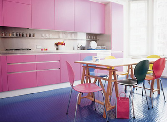 pink purple kitchen