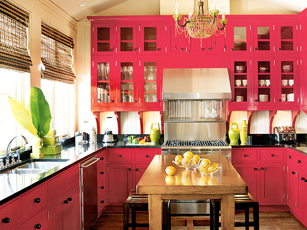 traditional pink kitchen