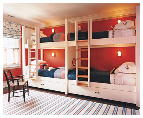 Four kids one room bunk beds decoholic for Bunk bed bedroom designs