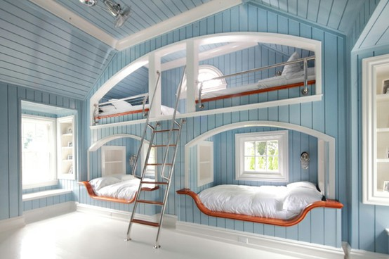 Cool Bunk Bed Rooms four kids one room bunk beds - decoholic