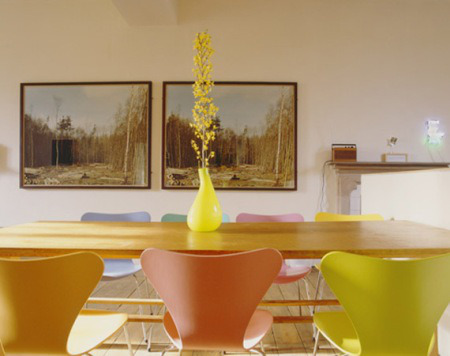 Colorful Dining Room with Multicolored Chairs 6