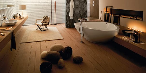 Hardwood floor in the Bathroom