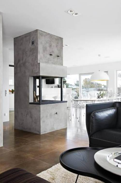 modern concrete central fireplace