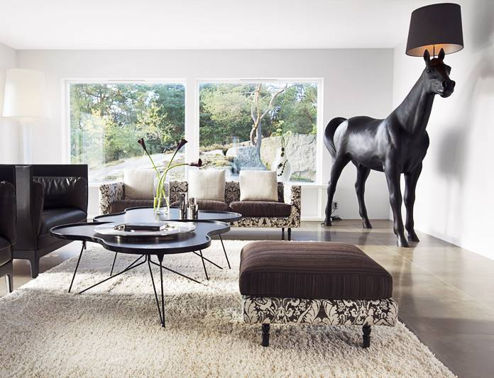 modern living room with horse floor lighting