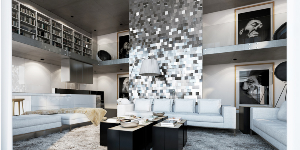 Amazing living room with silver wall design by ando-studio 2