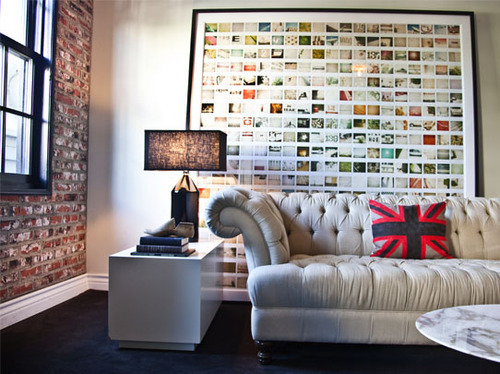 modern small living room with wall decor collage of photos