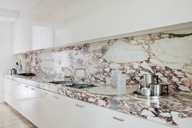 white marble kitchen Melbourne Penthouse by David Hicks