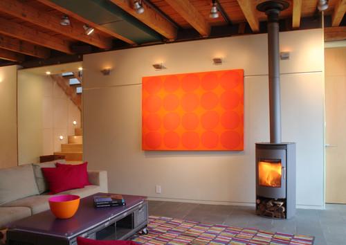 orange living room modern living room