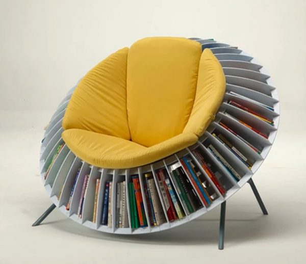 sunflower chair with books