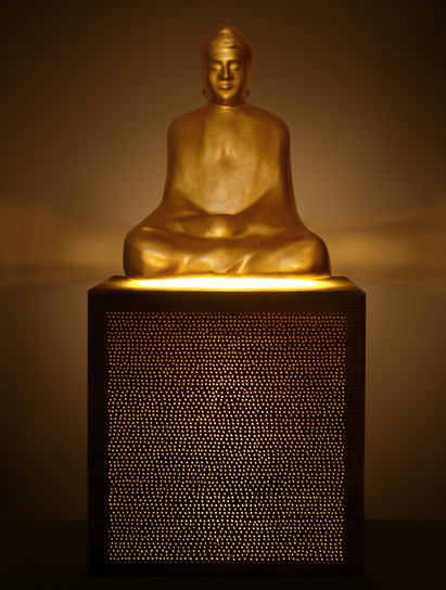 Lighting Floating Buddha by real 23k gold