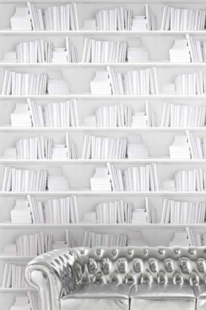 White Bookshelf Wallpaper Young & Battaglia