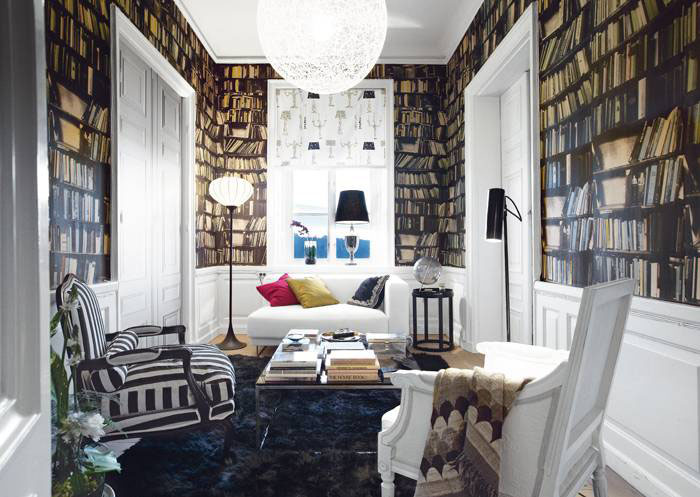 fake Bookshelf Wallpaper design 2