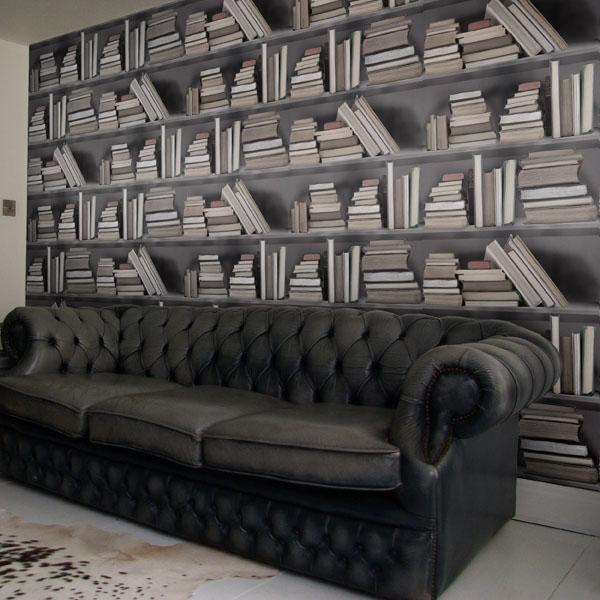 fake Bookshelf Wallpaper design 3